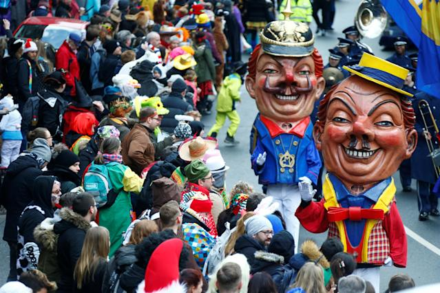 "<p>Carnival revellers at the traditional ""Rosenmontag"" Rose Monday carnival parade in in Mainz, Germany,Feb. 12, 2018. (Photo: Ralph Orlowski/Reuters) </p>"