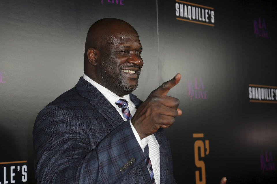 Shaquille O'Neal arrives at the Grand Opening of Shaquille's at LA Live on Saturday, March 9, 2019, in Los Angeles. (Photo by Willy Sanjuan/Invision/AP)