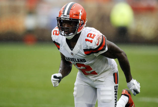 Cleveland Browns wide receiver Josh Gordon (12) was suddenly cut on Saturday. (AP)