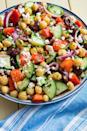"""<p>Thanks to the chickpeas, this salad will keep you full for hours. It's satisfying in a way that leafy greens never could be. Sorry not sorry, kale.</p><p>Get the <a href=""""https://www.delish.com/uk/cooking/recipes/a29843193/mediterranean-chickpea-salad-recipe/"""" rel=""""nofollow noopener"""" target=""""_blank"""" data-ylk=""""slk:Mediterranean Chickpea Salad"""" class=""""link rapid-noclick-resp"""">Mediterranean Chickpea Salad</a> recipe.</p>"""