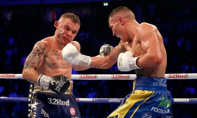 Warrington's spectacular win over Carl Frampton, left,took place on the same night as Dillian Whyte-Dereck Chisora II (Martin Rickett/PA)