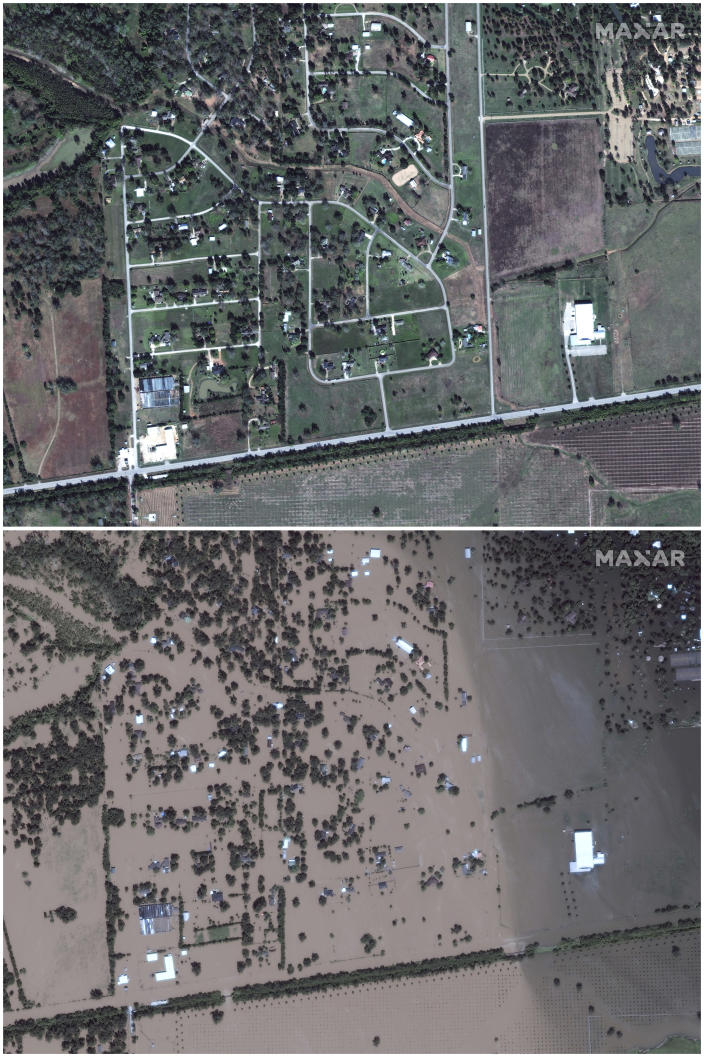 This July 8, 2017, image provided by Maxar Technologies shows Simonton, Texas, west of Houston, on Nov. 20, 2016, top, and on Aug. 30, 2017. (Satellite image ©2019 Maxar Technologies via AP)