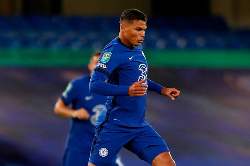 Thiago Silva was relatively untroubled on his Chelsea debut against Barnsley (AFP via Getty Images)
