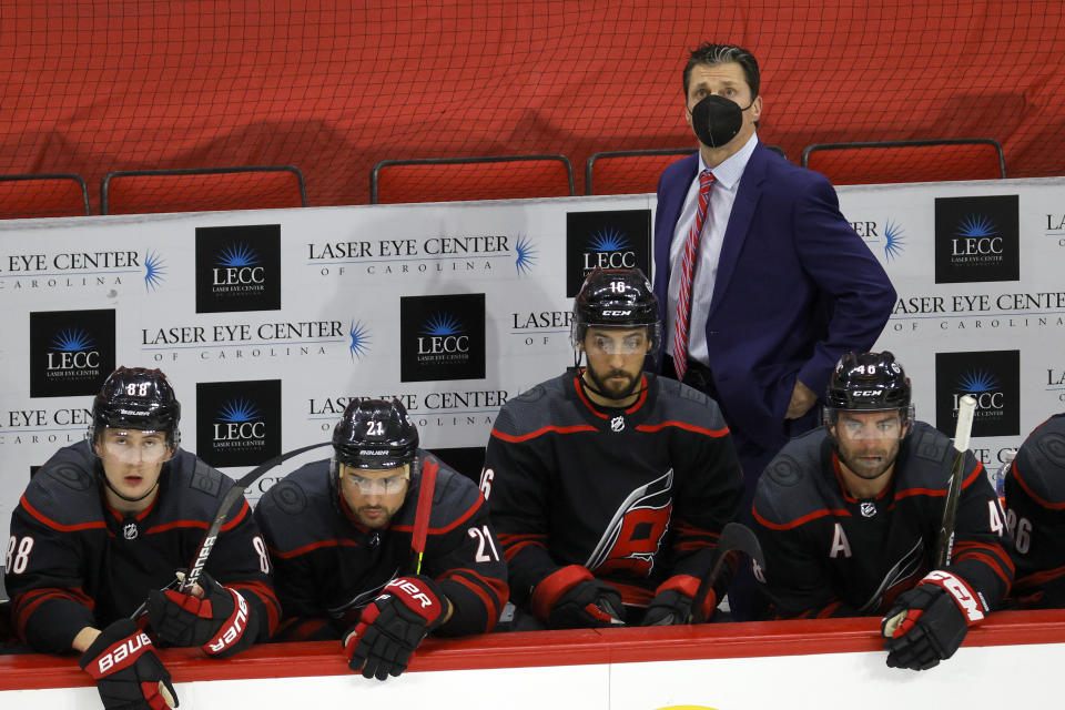 RALEIGH, NORTH CAROLINA - MARCH 04: Head coach Rod Brind'Amour of the Carolina Hurricanes looks on during the third period of their game against the Detroit Red Wings at PNC Arena on March 04, 2021 in Raleigh, North Carolina. (Photo by Jared C. Tilton/Getty Images)