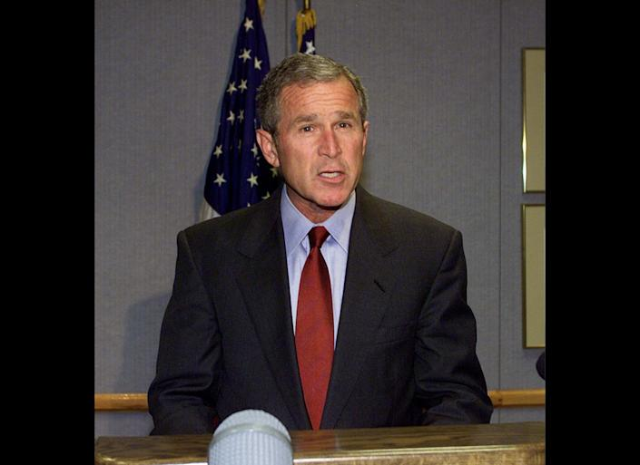"At 1:04 p.m., after all American air space had been cleared, President Bush <a href=""http://www.nysm.nysed.gov/wtc_timeline/zoomify.html"" target=""_hplink"">addressed </a>the nation from Barksdale Air Force Base in Louisiana, informing citizens that the U.S. military ""at home and around the world is on high alert status.""  ""Make no mistake, the United States will hunt down and punish those responsible for these cowardly acts,"" Bush <a href=""http://www.youtube.com/watch?v=bwgqmaeV7o0"" target=""_hplink"">said</a>."