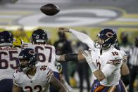 Chicago Bears' Mitchell Trubisky throws during the second half of an NFL football game against the Green Bay Packers Sunday, Nov. 29, 2020, in Green Bay, Wis. (AP Photo/Mike Roemer)