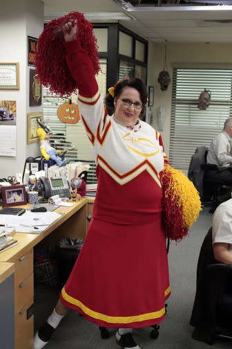 """<b>""""The Office""""</b> -- """"Here Comes Treble""""<br>Thursday, 10/25 at 9 PM on NBC<br><br>It's Halloween in the office, and the trick's on Andy when his college music group arrives to perform, leading to a confrontation with his frenemy, Broccoli Rob (guest star Stephen Colbert).<br><br>From the looks of it, Phyllis Smith comes face-to-face with her <a href=""""http://tv.yahoo.com/blogs/fall-tv/office-star-phyllis-smith-sets-us-straight-her-210308189.html"""">cheerleading past</a> when her character, Phyllis Vance, dresses up as a classic football cheerleader for the festivities."""