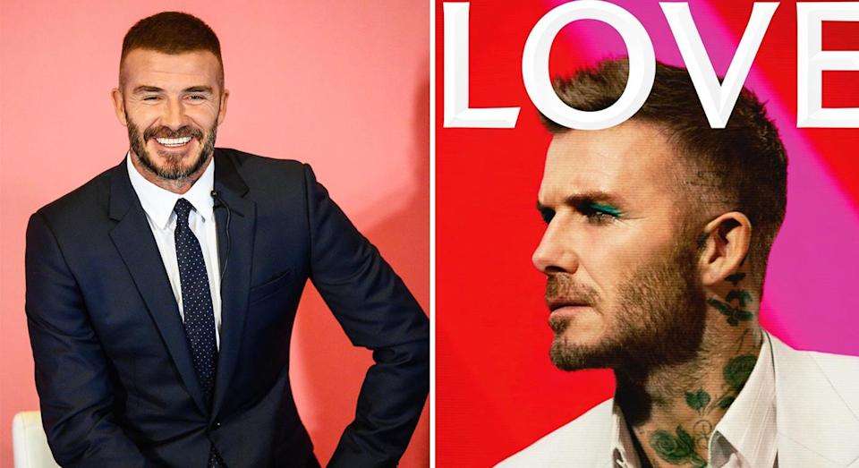 David Beckham sports teal eyeshadow on the LOVE magazine cover. [Photo: Instagram/Getty]