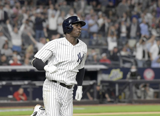New York Yankees' Didi Gregorius rounds the bases with a home run during the sixth inning against the Washington Nationals in a baseball game Tuesday, June 12, 2018, at Yankee Stadium in New York. (AP Photo/Bill Kostroun)