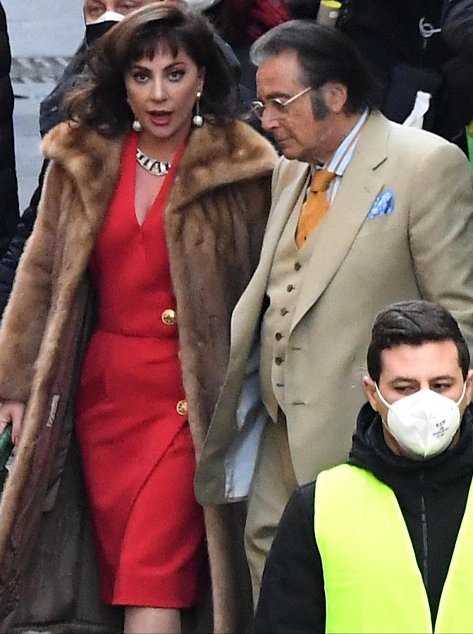 <p>Lady Gaga and Al Pacino are seen on the set of <em>House of Gucci</em> in full character on Monday in Rome.</p>