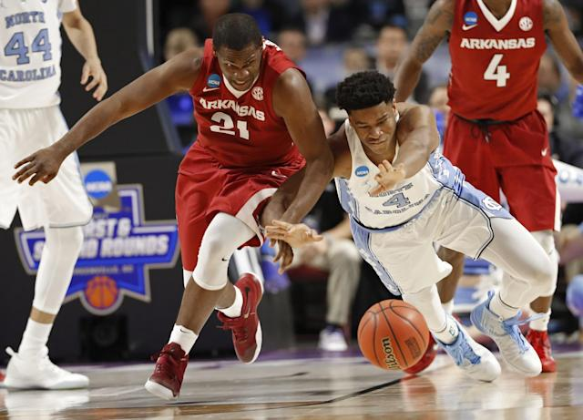 North Carolina will face Butler in the Sweet 16. (AP Photo/Chuck Burton)