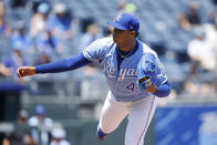 Kansas City Royals pitcher Carlos Hernandez delivers to a Chicago White Sox batter during the first inning of a baseball game at Kauffman Stadium in Kansas City, Mo., Thursday, July 29, 2021. (AP Photo/Colin E. Braley)