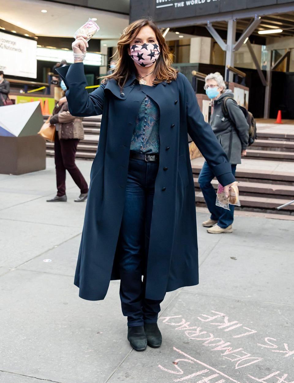 <p>Mariska Hargitay joins Election Super Centers' project to hand out Milk Bar cookies to voters outside the Madison Square Garden polling site on Tuesday in N.Y.C. </p>
