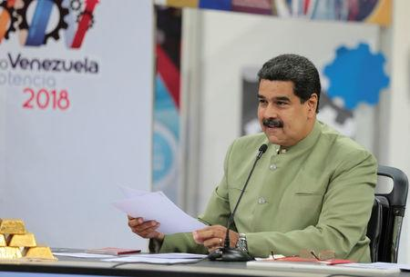 Venezuela's President Nicolas Maduro speaks during Venezuela Potential Expo in Caracas