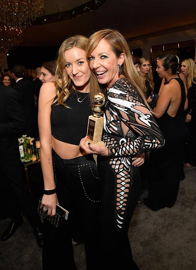 <p>Winner Allison Janey brought her niece, Petra Janney, to the InStyle and Warner Bros. party at the Beverly Hilton Hotel. (Photo: Matt Winkelmeyer/Getty Images for InStyle) </p>