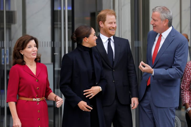 New York Governor Kathy Hochul and New York City Mayor Bill de Blasio stand with Britain's Prince Harry and Meghan, Duke and Duchess of Sussex, while visiting One World Trade Center in Manhattan, New York City