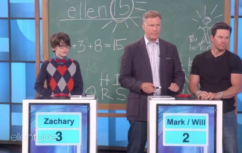 Will Ferrell and Mark Wahlberg were beaten at a game of wits by a youngster. Source: Ellen
