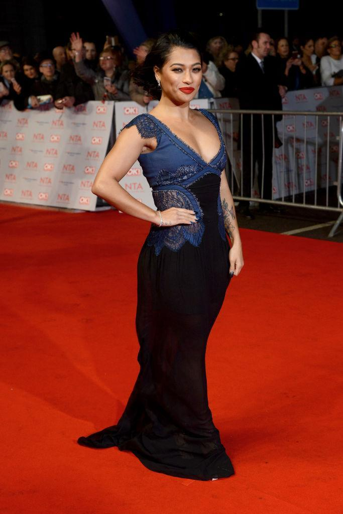 <p>'The Saturdays's singer Vanessa White donned a lace-embroidered dress for the 2018 National Television Awards. <em>[Photo: Getty]</em> </p>