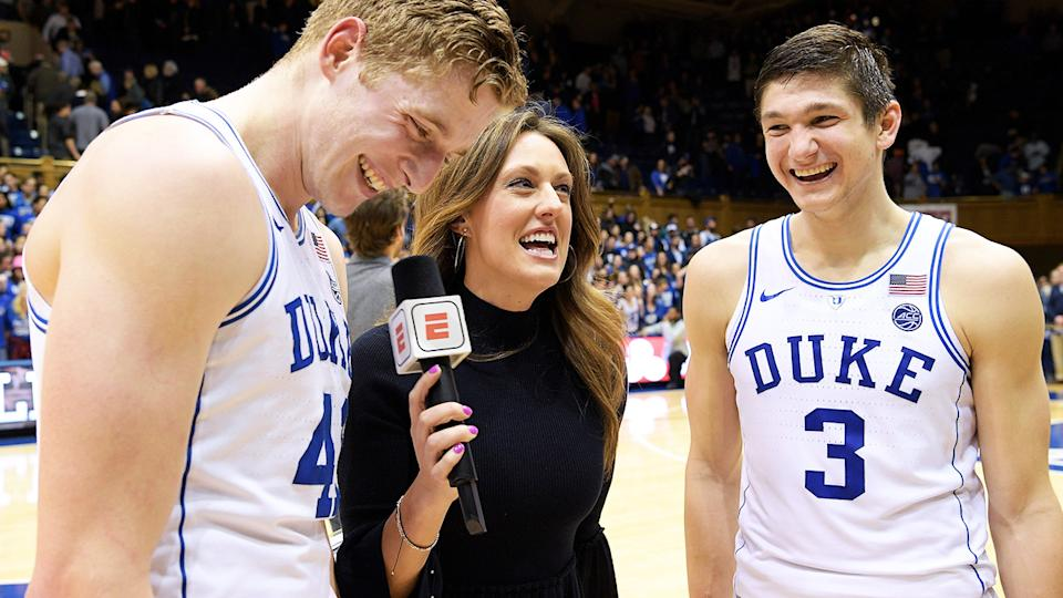 Allison Williams, pictured here speaking to Jack White and Grayson Allen.