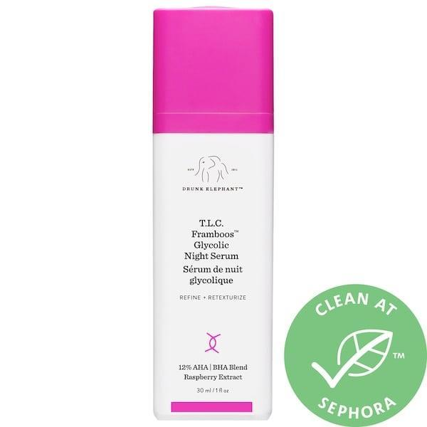 <p>I'll alternate my retinol serum with this <span>Drunk Elephant T.L.C. Framboos Glycolic Resurfacing Night Serum</span> ($90). Don't use them together or on the same night, but I love this because it provides just the right amount of exfoliation for me, and my skin feels tighter after using it.</p>