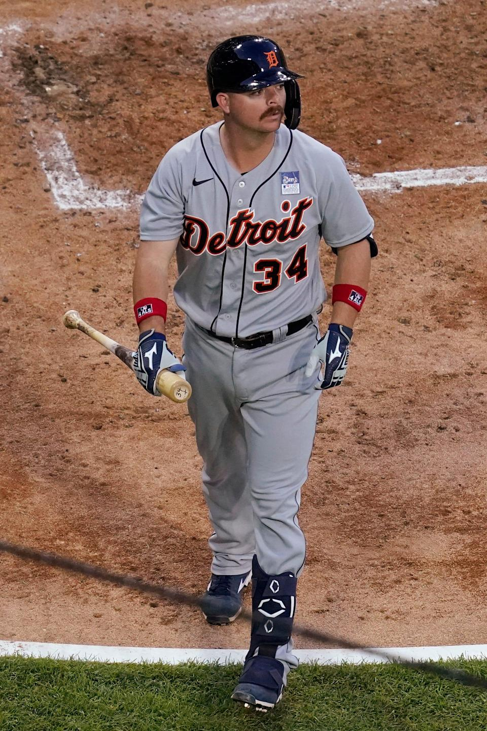 Tigers catcher Jake Rogers walks to the dugout after striking out swinging during the second inning on Thursday, June 3, 2021, in Chicago.