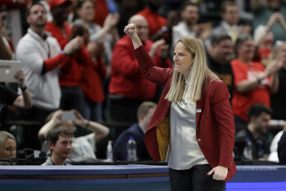 FILE - Maryland head coach Brenda Frese reacts after Maryland defeated Ohio State to win the NCAA college basketball championship game at the Big Ten Conference tournament in Indianapolis, in this Sunday, March 8, 2020, file photo. Maryland coach Brenda Frese was honored as The Associated Press women's basketball coach of the year Wednesday, March 31, 2021, for the second time in her career. (AP Photo/Darron Cummings, File)