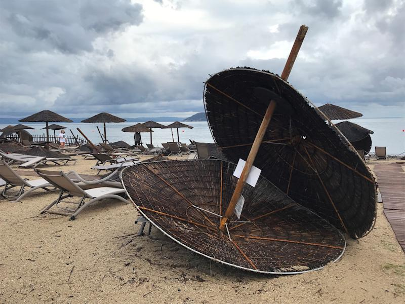 Damages at the beach at a hotel in Porto Carras, Halkidki, Greece July 11, 2019 after severe weather hit Greece. REUTERS/Iona Serrapica - RC135B94FF00