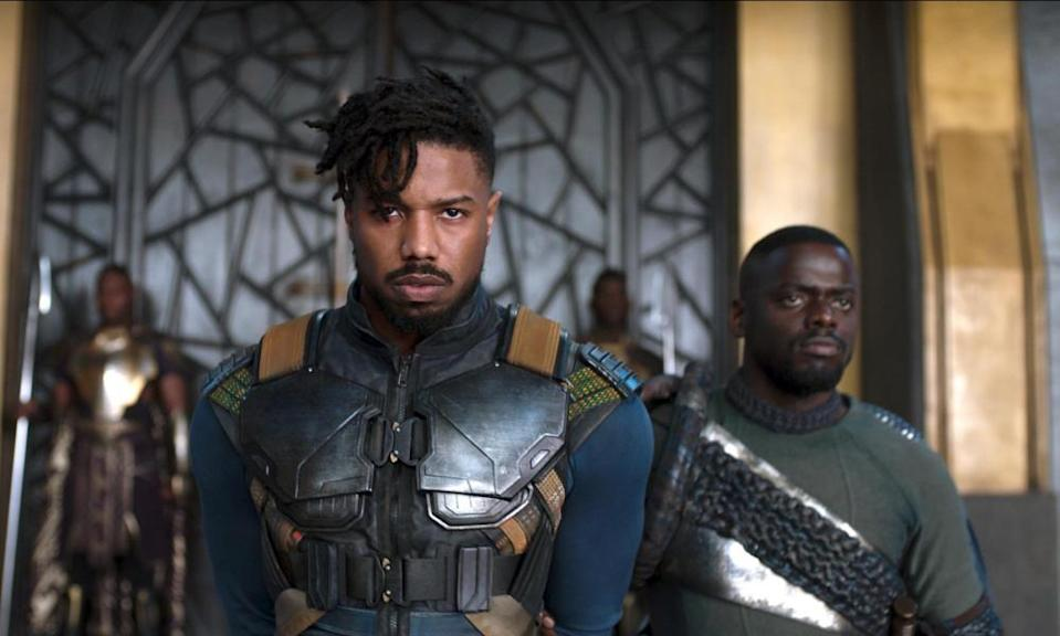 Cool and deadly … Michael B Jordan as Killmonger and Daniel Kaluuya as W'Kabi in Black Panther.