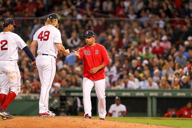 The Red Sox are a long way back, but have plenty of big games ahead. (Paul Rutherford-USA TODAY Sports)