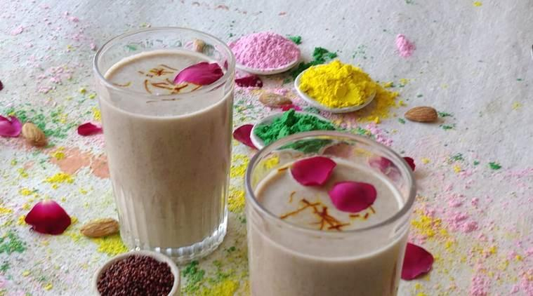 Holi recipe, recipe, healthy drink., ragi thandai, millet, indian express news