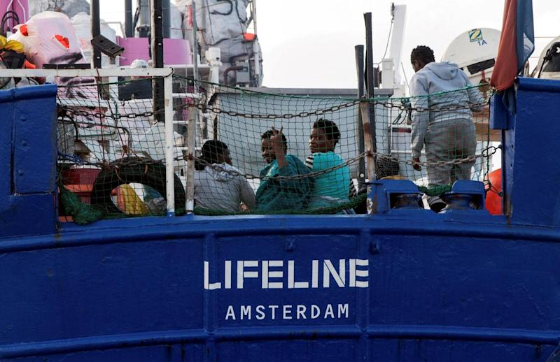 Ship: Migrants are seen on the deck of the Mission Lifeline rescue boat (REUTERS)