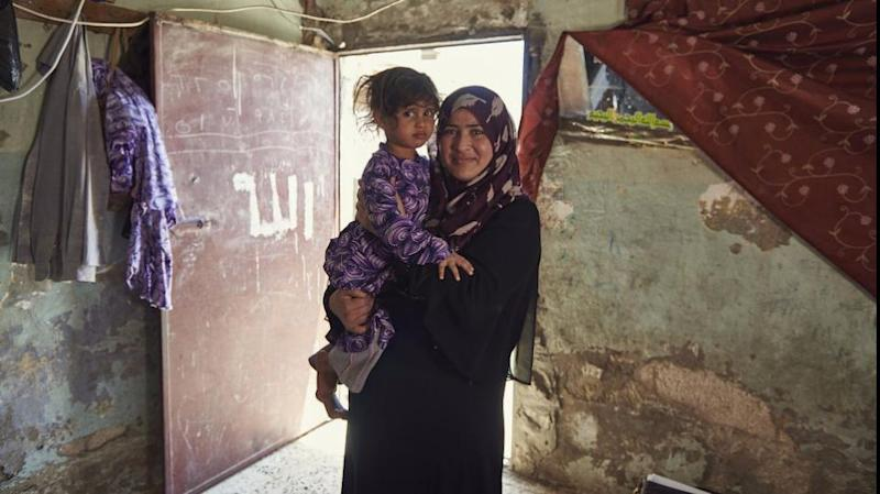 Leyla and her daughter Sara in their home in a Jordan refugee camp. Source: Act for Peace