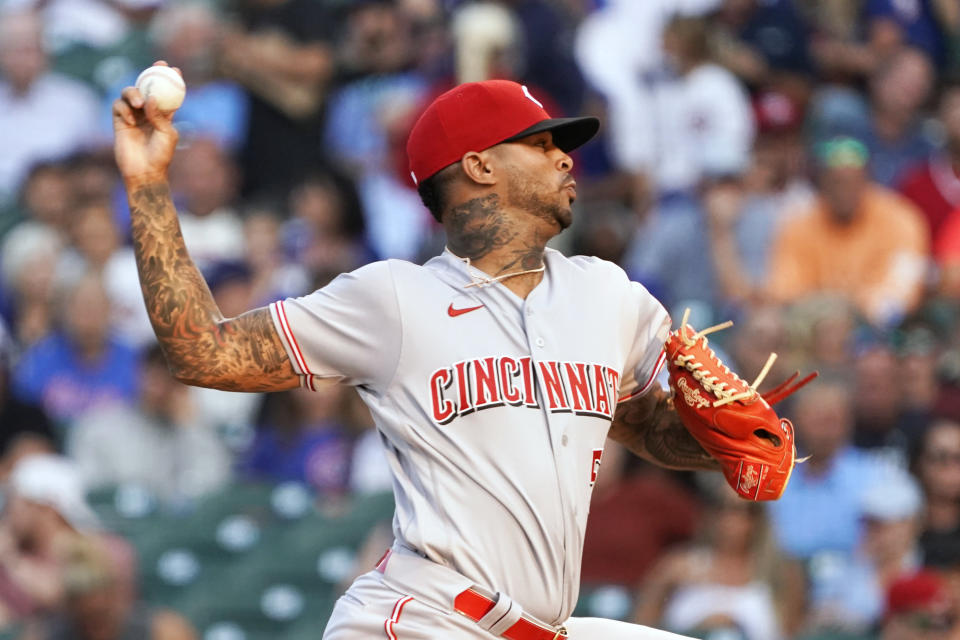Cincinnati Reds starting pitcher Vladimir Gutierrez throws to a Chicago Cubs batter during the first inning of a baseball game Tuesday, July 27, 2021, in Chicago. (AP Photo/David Banks)