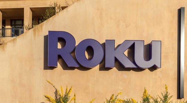 A purple Roku (ROKU) sign is pictured on a wall in Los Gatos, California.