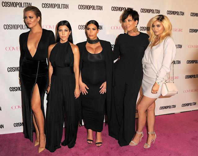 Khloé, Kourtney, Kim, Kris, and Kylie at Cosmopolitan magazine's 50th birthday celebration in West Hollywood, Calif., Oct. 12, 2015.