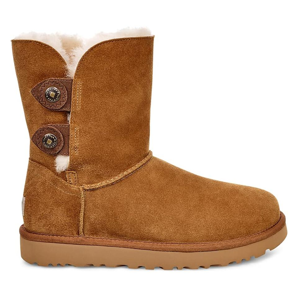 """<p>A slight upgrade from the classic UGG boot silhouette, this pair of comfy shoes features textured snap tabs on the side. It's a stylish accent that makes the boots feel fresh.</p> <p><strong>To buy:</strong> $120 (was $175); <a href=""""https://click.linksynergy.com/deeplink?id=93xLBvPhAeE&mid=1237&murl=https%3A%2F%2Fshop.nordstrom.com%2Fs%2Fugg-marciela-ii-boot-women%2F5322209%2Ffull&u1=RS%2CTheComfiestUGGBootsandSlippersAreUpto35%2525OffatNordstromRightNow%2Cdarganb%2CSHO%2CIMA%2C686204%2C201912%2CI"""" target=""""_blank"""">nordstrom.com</a></p>"""