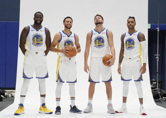 Will we see a lineup of Draymond Green, Stephen Curry, Klay Thompson and D'Angelo Russell this season? (Getty Images)