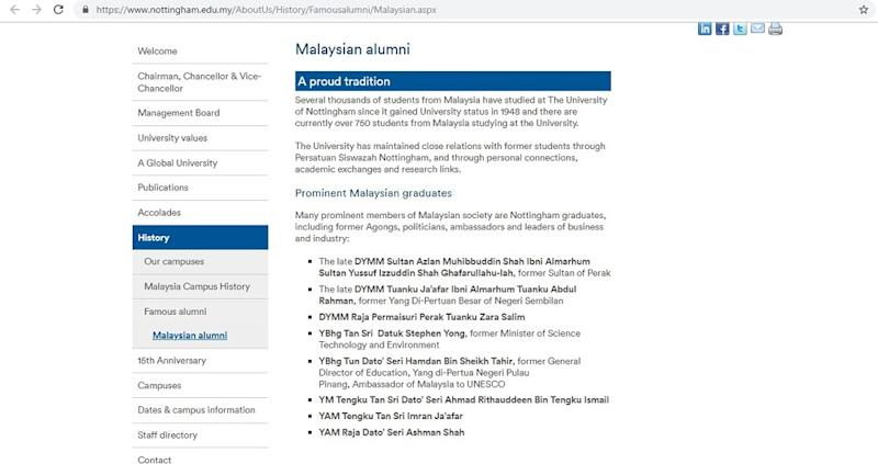 A screen capture in February 2019 of the University of Nottingham's Malaysia campus' website.