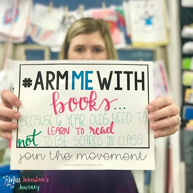 <p>Picture shows one of the teachers that joined the movement #ArmMeWith, in Burlington, Iowa, Feb. 20, 2018 in this picture obtained from social media. (Photo: courtesy of Instagram/@MISSJOHNSTONSJOURNEY/via Reuters) </p>
