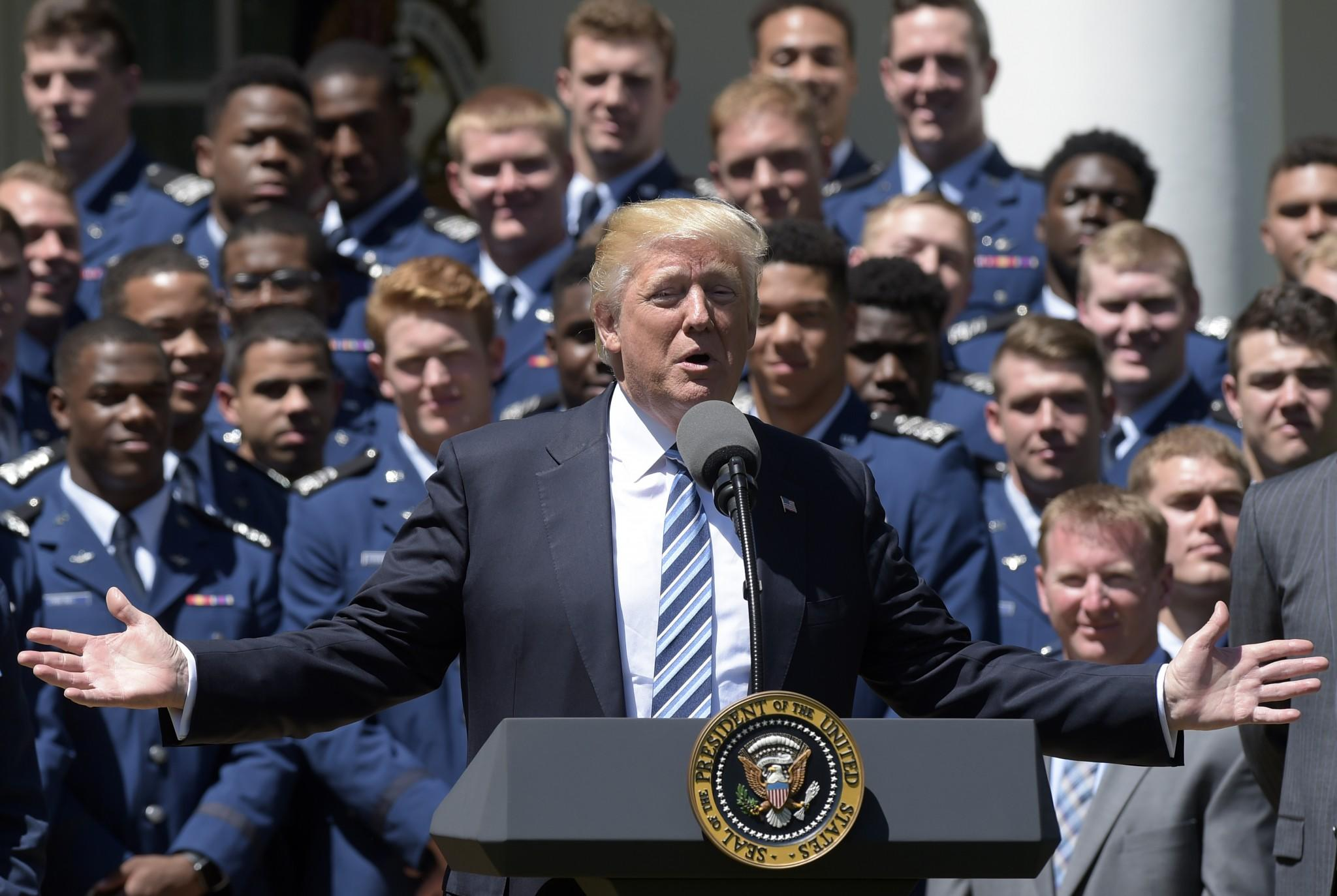 President Donald Trump speaks in the Rose Garden of the White House in Washington, Tuesday, May 2, 2017, during presentation ceremony of the Commander-in-Chief trophy to Air Force Academy football team. (Photo: Susan Walsh/AP)