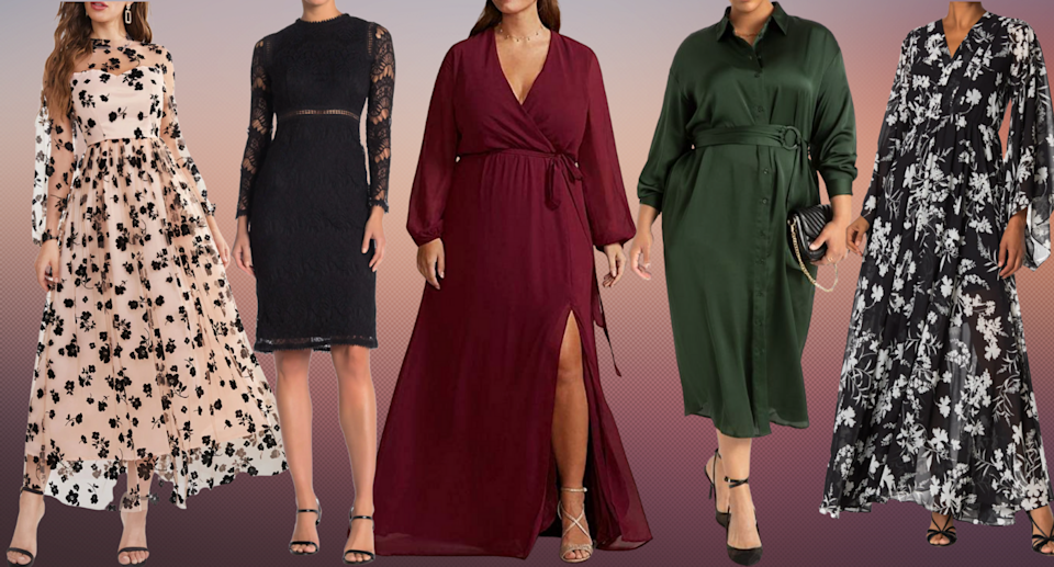 Fall wedding? Get your wedding guest dress shopping done now with these pretty long-sleeved dresses (Photos via SHEIN, Nordstrom Rack, David's Bridal, Eloquii)