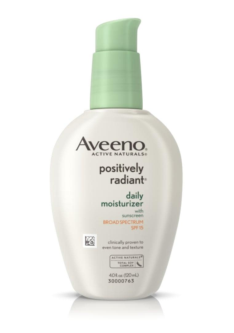 """<p>This <a href=""""https://www.popsugar.com/buy/Aveeno-Active-Naturals-Moisturizer-270822?p_name=Aveeno%20Active%20Naturals%20Moisturizer&retailer=walgreens.com&pid=270822&price=14&evar1=bella%3Aus&evar9=46158385&evar98=https%3A%2F%2Fwww.popsugar.com%2Fbeauty%2Fphoto-gallery%2F46158385%2Fimage%2F46391534%2FAveeno-Active-Naturals-Positively-Radiant-Daily-Moisturizer-SPF-15&list1=beauty%20products%2Cspf%2Csunscreen%2Cfall%2Cdry%20skin%2Caveeno%20baby%2Cwalgreens%2Cmoisturizer%2Csummer%20beauty%2Cbeauty%20shopping%2Cface%20cream%2Cbeauty%20trends%2Cfall%20beauty%2Cskin%20care&prop13=mobile&pdata=1"""" class=""""link rapid-noclick-resp"""" rel=""""nofollow noopener"""" target=""""_blank"""" data-ylk=""""slk:Aveeno Active Naturals Moisturizer"""">Aveeno Active Naturals Moisturizer</a> ($14, originally $17) has sunscreen, and the brand touts that it is clinically shown to help improve skin's texture and tone.</p>"""