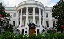 US President Joe Biden speaks during Independence Day celebrations on the South Lawn of the White House