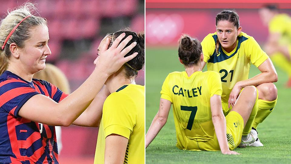 Pictured here, Matildas players look upset after losing their bronze medal match to the USA.