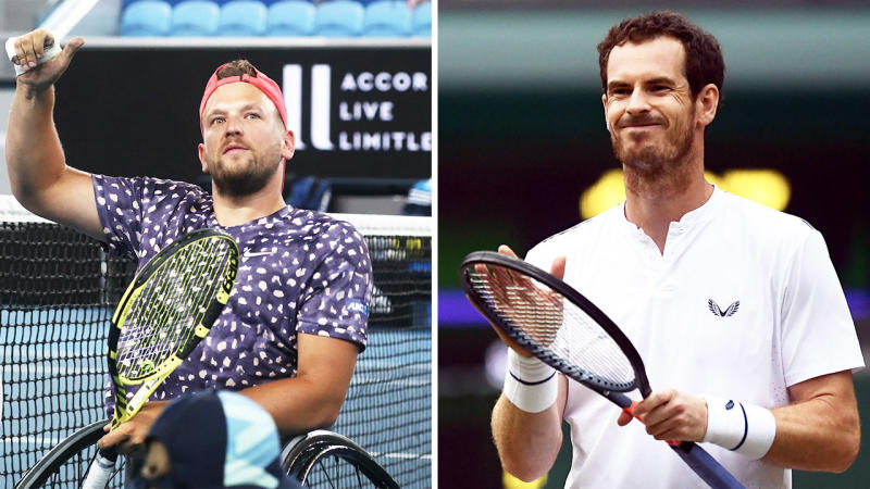 Andy Murray (pictured right) looking annoyed after losing a point and Dylan Alcott (pictured left) thanking the crowd.