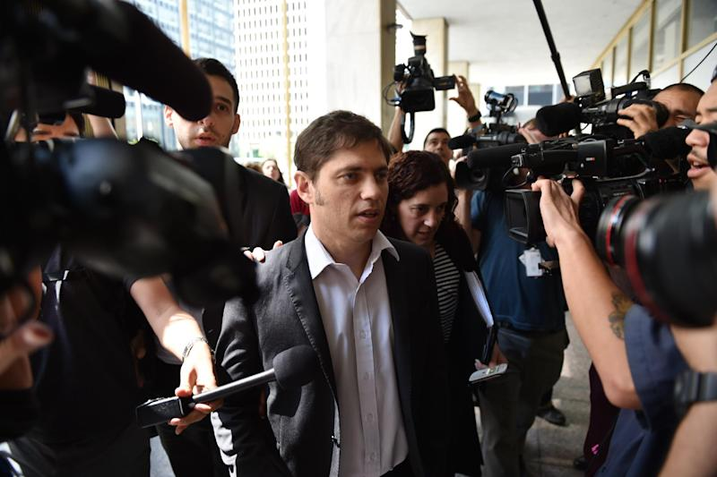 Argentina's Economy Minister Axel Kicillof arrives at the office building of mediator Daniel Pollack July 30, 2014 in New York (AFP Photo/Stan Honda)