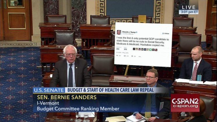 Sanders speaks on the Senate floor on Wednesday. (Screengrab via C-SPAN)