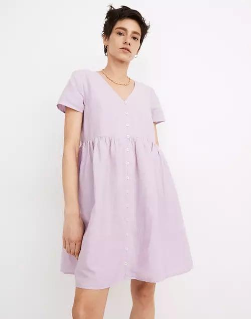 <p>You know you'll get a minidress that's <em>actually</em> short with this <span>Madewell Petite Linen-Blend Alexandra Button-Front Mini Dress</span> ($88), but do you know what color you'd like best (among black, tan, and lavender)?</p>