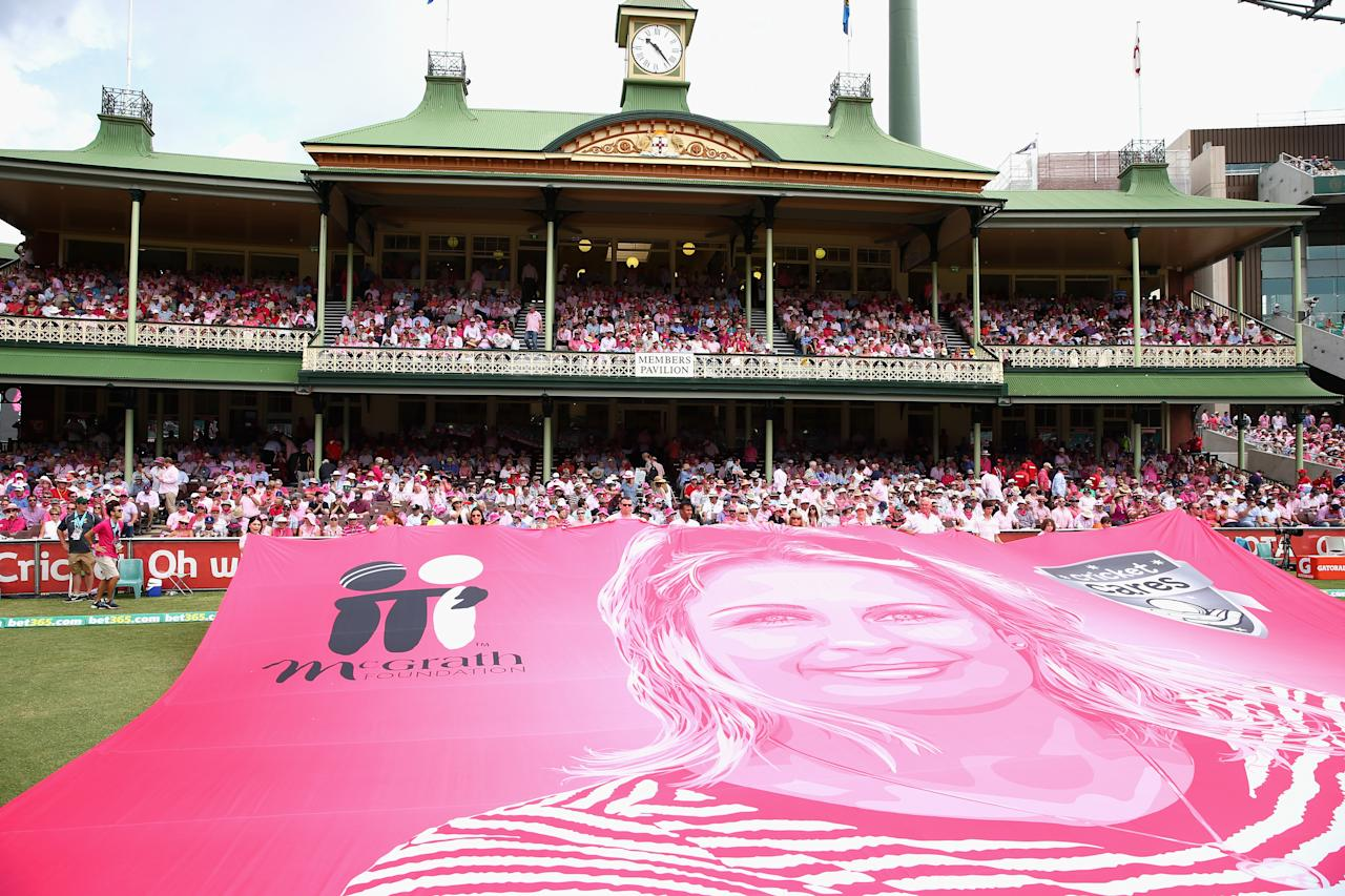 SYDNEY, AUSTRALIA - JANUARY 05:  A banner of Jane McGrath is seen on Jane McGrath Day during day three of the Fifth Ashes Test match between Australia and England at Sydney Cricket Ground on January 5, 2014 in Sydney, Australia.  (Photo by Ryan Pierse/Getty Images)