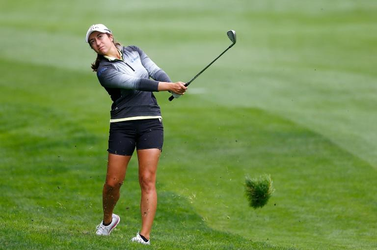 Marina Alex of the US hits a shot on the 12th hole during the first round of the LPGA Cambia Portland Classic, at Columbia Edgewater Country Club in Oregon, on August 30, 2018